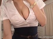 Hana Nonoka Asian doll is as sexy teacher giving a tit fuck