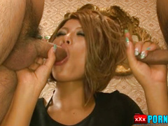 Pretty Japanese lass offers wild and uncensored cock sucking