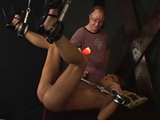 Small tits gal trussed up like a turkey