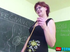 MILF Teacher show young boy how woman to Fuck