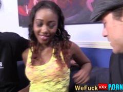 Ebony babe throats dongs