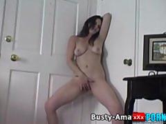 Hot brunette jennifer masturbates her pussy