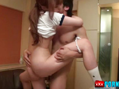 Glorious japanese babe is sucking their big love sticks
