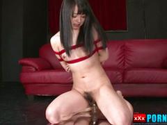 Japanese bondage with hot brunette
