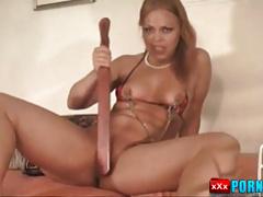 Hot pain slut clamped pussy spanking