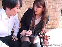 Hot Japanese model poses outdoors and gets anal